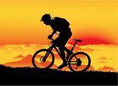 Mountainbiker at sunset
