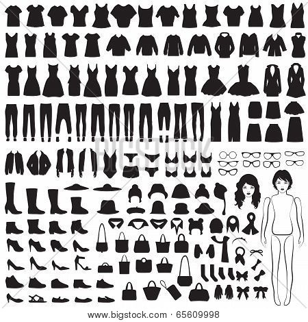 clothing silhouette poster