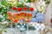 foto of peppermint  - Fresh home made summer cocktail with champagne peppermint and fresh strawberries - JPG