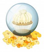Illustration of a crystal ball with a mocha-flavored cupcake inside on a white background