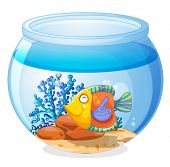 Illustration of an aquarium with a fish on a white background
