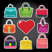 Multi-coloured Fashion Women's Handbag And Red Heart
