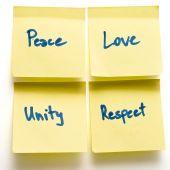 Peace Love Unity Respect Yellow