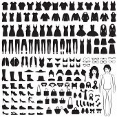 pic of wardrobe  - vector collection of woman fashion icons - JPG