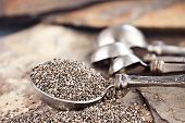 pic of tablespoon  - Tablespoon of healthy chia seeds with selective focus and extreme shallow depth of field - JPG