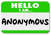 Hello I Am Anonymous words sticker name tag classified, confidential secret identity