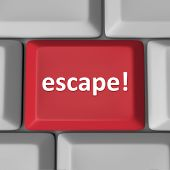 Escape word red computer key button bad situation