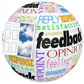 Feedback globe world door opening inside customer opinions, reviews, comments, survey
