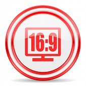 16 9 display red white glossy web icon