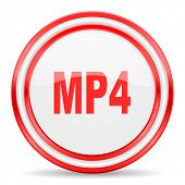 mp4 red white glossy web icon