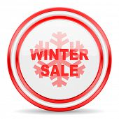 winter sale red white glossy web icon