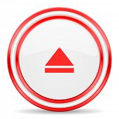 eject red white glossy web icon