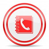 phonebook red white glossy web icon