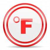 fahrenheit red white glossy web icon