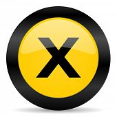 cancel black yellow web icon