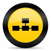 database black yellow web icon