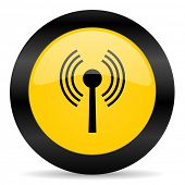 wifi black yellow web icon