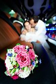 Wedding Bouquet Of Flowers In Limo