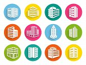 Set of buildings icons on colorful web buttons