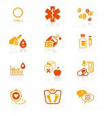 Diabetes health-care life red-orange icon-set
