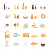 Large set of food and beverage icons