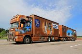 Orange Scania Trailer Truck With James Bond Theme