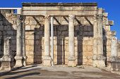 TABGHA, ISRAEL - JANUARY 2012: The most ancient church in Lake of Galilee. Colonnade in the Roman st