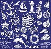 White Summer sea icons set