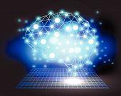 Creative brain concept background with triangular grid
