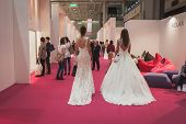 Models Wearing Wedding Dresses At Si' Sposaitalia In Milan, Italy
