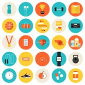 picture of medal  - Flat icons set of fitness sport and healthy lifestyle - JPG