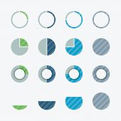Very useful pie chart and percent flat vector design elements