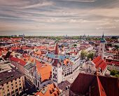 Vintage retro effect filtered hipster style travel image of aerial view of Munich - Marienplatz and