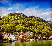 Vintage retro effect filtered hipster style travel image of Austrian tourist destination Hallstatt village on  Hallst�?�?�?�¤tter See in Austrian alps. Salzkammergut region, Austria poster
