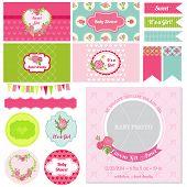 Scrapbook Design Elements - Baby Shower Flower Theme - in vector