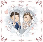 Just Married Couple in Jail Vector Cartoon