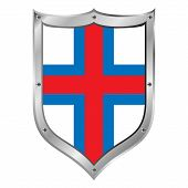 stock photo of faroe islands  - Faroe Islands flag button on a white background - JPG