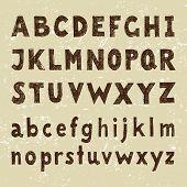 Hand drawn alphabet in vintage style