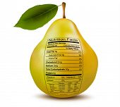Pear with nutrition facts label. Concept of healthy food. Raster version.
