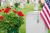 dog tags on veteran's grave