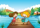 Illustration of the two cute girls exchanging gifts at the river