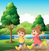 Illustration of the happy and energetic kids playing near the river