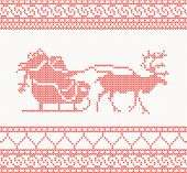 knitted pattern with Santa Claus, deer and presents