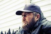 foto of homeless  - Homeless man in depression  - JPG