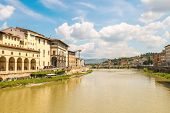 Quay Of The River Arno Of The Ancient Italian City Florence.
