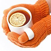 Hands In Knitted Mittens Holding A Cup Of Tea