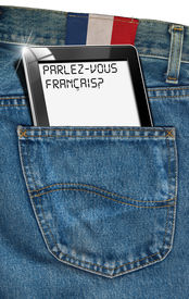 picture of pronunciation  - Jeans with black tablet computer with phrase  - JPG