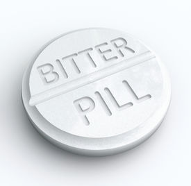 stock photo of swallow  - Bitter Pill words white tablet medicine difficult swallow tough take - JPG