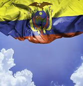 picture of guayaquil  - Ecuador waving flag on a beautiful day - JPG