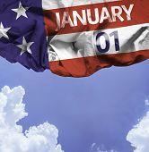 USA January, 01 comemorative flag on a beautiful day